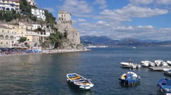 Amalfi Coast from sea Stock Footage
