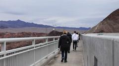 Pedestrian-Vehicle traffic Mike O Callaghan-Pat Tillman Bridge Nevada - stock footage
