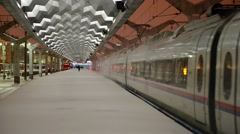 """Departure of the train """"Sapsan"""" from the Moscow railway station Stock Footage"""