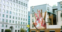 4K, Big mural painting on the facade of building in Los Angeles Downtown Stock Footage