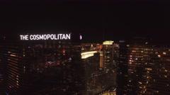 The Cosmopolitan, Las Vegas- 4K Night Aerail Footage - stock footage
