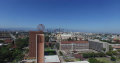 USC Campus to Downtown LA Stock Footage