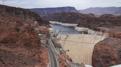 Traffic on road to Hoover Dam Nevada - stock footage
