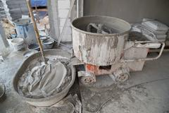 Cement concrete mixer at construction site Stock Photos