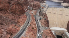 Traffic on road to Hoover Dam Nevada Stock Footage