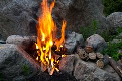 Fire among stones Stock Photos