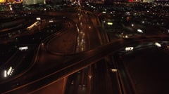 The Las Vegas Strip and Highway, Las Vegas- 4K Night Aerail Footage Stock Footage