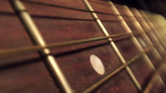 Guitar Fret Board Pan Extreme Close Up Stock Footage