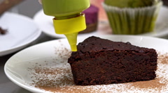 Amazing delicious chocolate cake. Close up. Slow motion Stock Footage