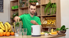 Fresh healthy smoothie. Slider Shoot Stock Footage