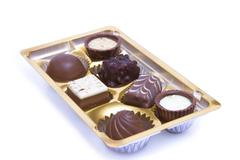 Chocolate sweets in box Stock Photos