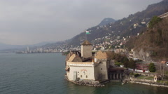 aerial view of Château de Chillon - stock footage