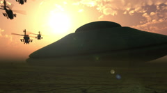 Giantic alien spaceship landing in the desert on the sunset (HD video) 1080 p Stock Footage