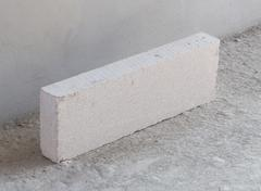 stack of white Lightweight Concrete block, Foamed concrete block - stock photo
