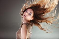 Mysterious enigmatic attractive woman girl. - stock photo