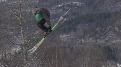 Stock Video Footage of Winter Slow Motion Extreme Sports - Close up Ski Jump