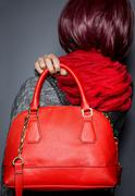 Fall or Spring Fashion Style with Red Purse Stock Photos