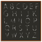 Stock Illustration of Chalk hand drawing alphabet, vector illustration.