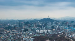 Cityscape of Seoul and seoul tower day to night, South Korea. Stock Footage