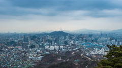 TAR 7733Cityscape of Seoul and seoul tower day to night, South Korea. Stock Footage