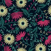 Embroidery floral seamless pattern on navy background - stock illustration