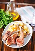 Rack of lamb fried with aromatic olive oil Stock Photos