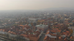 High angle view of Ljubljana from Castle Hill Stock Footage
