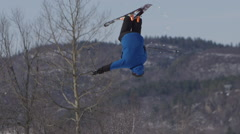 Close up ski flip on big jump - Extreme Sport - stock footage