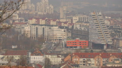 Static shot of Ljubljana with the Grey Triangle building Stock Footage