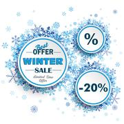 White Circles Winter Sale Blue Snowflakes - stock illustration