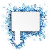 Stock Illustration of Rectangle Arrow Pointer Blue Snowflakes
