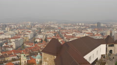 High point view with old buildings and the Castle in Ljubljana Stock Footage