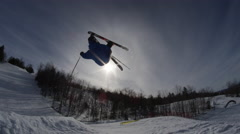 Stock Video Footage of Winter Slow Motion Extreme Sports - Ski Silhouette on Big Jump