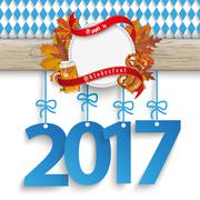Bavarian Oktoberfest Wooden Banner Foliage 2017 - stock illustration