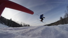 Extreme Snowboarding - Slow Motion Grind in Snow Park Stock Footage