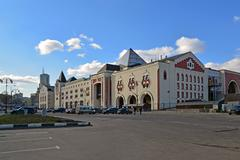 Moscow, Russia - March 14, 2016. A Kazansky railway station from  street Novo - stock photo