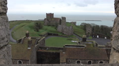 Dover medieval Church from Castle window ferry 4K Stock Footage