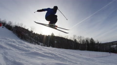 Winter Slow Motion Extreme Sports - Ski Grind in snow park Stock Footage