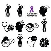 Seniors health - Alzheimer's disease and dementia, memory loss icons set Stock Illustration