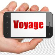 Travel concept: Hand Holding Smartphone with Voyage on display Stock Illustration