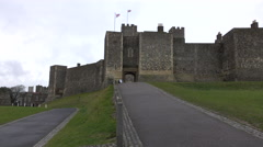 Dover Castle England entrance to gate pan 4K Stock Footage
