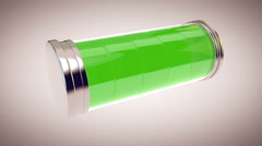 Glass battery charging from 0 to 100 percent Stock Footage