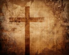 Christian cross on paper background - stock illustration