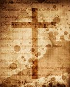 Christian cross on paper background Piirros