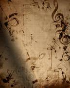 Old music sheet - stock illustration