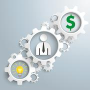 Stock Illustration of White Gears Idea Businessman Dollar
