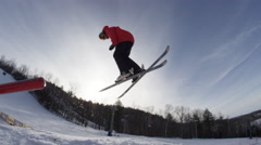 Winter Slow Motion Extreme Sports - Awesome pro skiing - stock footage