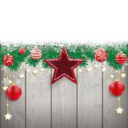 Snow Fir Twigs Wood Laths Stars Baubles - stock illustration