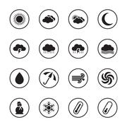 black flat weather icon set with circle frame - stock illustration