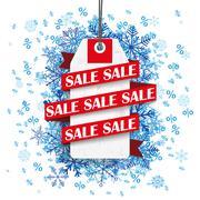 Sale Ribbon Price Sticker Blue Snowflakes Percents - stock illustration